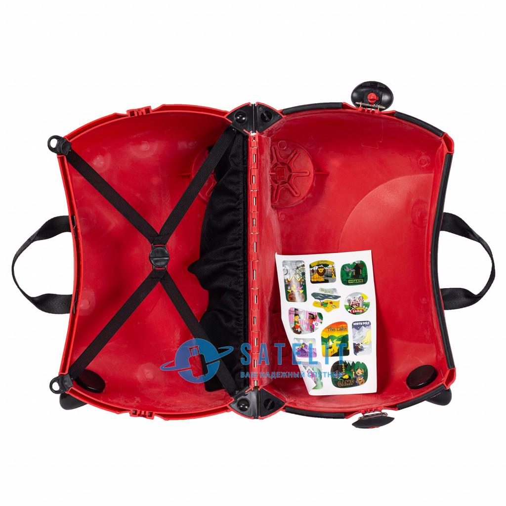 Детский чемодан-каталка на 4 колёсах красный