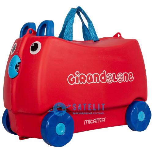 Детский чемодан-каталка с ушками на 4 колёсах красный